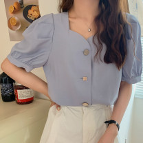 Lace / Chiffon Summer 2021 White blue S M L XL Short sleeve commute Cardigan singleton  easy Regular square neck Solid color puff sleeve 18-24 years old Shafenya Korean version Other 100% Pure e-commerce (online only)