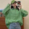 Women's large Spring 2020 Green white Large M (suitable for 80-125 kg) large L (suitable for 125-150 kg) Large XL (suitable for 150-175 kg) large XXL (suitable for 175-200 kg) shirt singleton  commute easy moderate Socket Long sleeves Solid color Polo collar Medium length routine HLX-847 Han Luxian