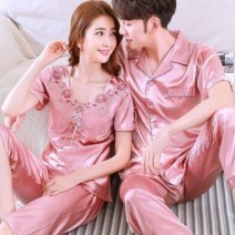 Pajamas / housewear set lovers Other / other (men's) l, (women's) XXL, (women's) m, (men's) XXL, (men's) XL, (men's) XXXL, (women's) XL, (women's) l cotton Short sleeve sexy pajamas summer Thin money Small lapel Solid color shorts double-breasted youth 2 pieces rubber string silk printing 200g