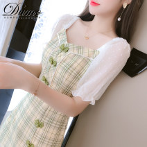 Dress Summer 2020 S M L XL Mid length dress singleton  Short sleeve commute square neck High waist lattice Socket A-line skirt puff sleeve Others 25-29 years old Type A Alone Korean version More than 95% other Other 100% Pure e-commerce (online only)