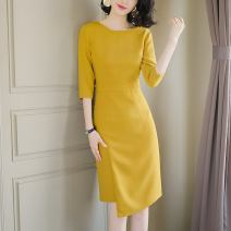 Dress Spring 2021 yellow S M L XL Middle-skirt singleton  three quarter sleeve commute Crew neck High waist Solid color zipper A-line skirt routine Others 30-34 years old Type A Light and gentle Korean version Stitching zipper W26Q32071 71% (inclusive) - 80% (inclusive) Chiffon Cellulose acetate