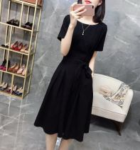 Dress Spring 2021 black S M L XL Middle-skirt singleton  Short sleeve commute Crew neck High waist Solid color Socket A-line skirt routine Others 30-34 years old Type A Light and gentle Korean version Three dimensional decoration with knot and tie W26Q22229 71% (inclusive) - 80% (inclusive) Chiffon