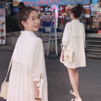 shirt white S M L XL 2XL Summer 2020 other 96% and above elbow sleeve commute Medium length Polo collar Socket routine Solid color 18-24 years old High waist type Still beautiful lady IMA05201802 Bow and tuck Other 100% Pure e-commerce (online only)