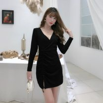 Dress Autumn 2020 Black, underwear S,M,L,XL Short skirt singleton  Long sleeves commute V-neck High waist Solid color Socket A-line skirt other Others 18-24 years old Type H Other / other Korean version Splicing 81% (inclusive) - 90% (inclusive) brocade nylon