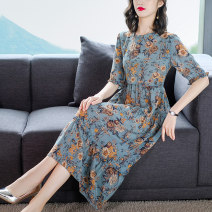 Dress Spring 2021 Picture color - 9306 M L XL 2XL 3XL Mid length dress singleton  Short sleeve commute Crew neck middle-waisted Decor Socket A-line skirt routine Others 35-39 years old Type A Xirusa Korean version printing WJYY-9306 30% and below silk Mulberry silk 30% others 70%