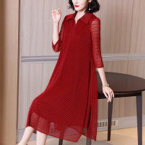 Dress Spring 2021 Red and black M L XL 2XL 3XL Mid length dress singleton  three quarter sleeve commute Polo collar Loose waist stripe Single breasted A-line skirt routine Others 40-49 years old Type A Xirusa Korean version Button XSL-81633 More than 95% other Other 100% Pure e-commerce (online only)