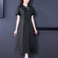 Dress Spring 2021 Black-8837 L XL 2XL 3XL 4XL Mid length dress singleton  Short sleeve commute stand collar middle-waisted Solid color Socket A-line skirt routine Others 40-49 years old Type A Xirusa Simplicity Splicing YQWLFS-8837 30% and below Silk and satin silk Mulberry silk 30% others 70%
