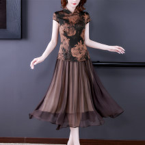 Dress Summer 2021 Picture color-6289 L XL 2XL 3XL 4XL Mid length dress Fake two pieces Short sleeve commute stand collar middle-waisted Decor Socket A-line skirt routine Others 40-49 years old Type A Xirusa Korean version printing YMFS-6289 30% and below silk Mulberry silk 30% others 70%