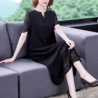 Women's large Summer 2021 Dress singleton  commute easy thin Condom Short sleeve Korean version V-neck Medium length Three dimensional cutting routine HXDMNZ-5051 40-49 years old Xirusa Three dimensional decoration Medium length Mulberry silk 30% others 70% Pure e-commerce (online sales only) other