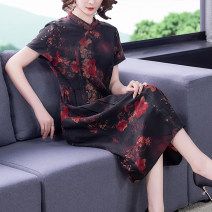 Dress Summer 2021 Mid length dress singleton  Short sleeve commute Crew neck middle-waisted Decor Condom A-line skirt routine Others 40-49 years old Xirusa SYTDMNZ-6651 30% and below silk Mulberry silk 30% others 70% Pure e-commerce (online sales only) L XL 2XL 3XL 4XL Picture color-6651