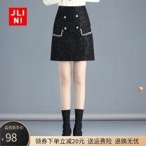 skirt Winter 2020 M L XL 2XL 3XL 4XL black Short skirt commute High waist A-line skirt Solid color Type A 25-29 years old JN20AT1436 Wool JLINI zipper Korean version Pure e-commerce (online only)