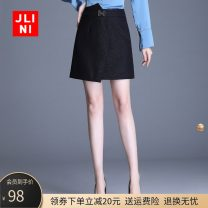 skirt Spring 2020 M L XL 2XL 3XL 4XL black Short skirt commute High waist A-line skirt Solid color Type A JN19AT1078 JLINI zipper Simplicity Pure e-commerce (online only)