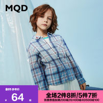 shirt MQD male 110cm 120cm 130cm 140cm 150cm 160cm spring and autumn Long sleeves leisure time stripe cotton Lapel and pointed collar Cotton 100% Class B