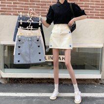 skirt Summer 2021 S M L XL 2XL 3XL 4XL 5XL Light blue black off white Short skirt commute High waist A-line skirt Type A 18-24 years old 71% (inclusive) - 80% (inclusive) cotton Pocket button zipper Korean version Cotton 76% viscose 14% polyester 10%