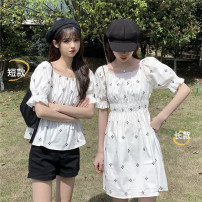 Dress Summer 2021 1253 white top single 1253 black top single 1254 white dress single 1254 black dress single Average size Miniskirt elbow sleeve commute square neck High waist 18-24 years old Emperor's paradise Korean version 0326L12 More than 95% other Other 100% Pure e-commerce (online only)