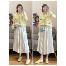 Fashion suit Summer 2021 S M L XL Goose yellow knitted open + pleated skirt goose yellow knitted open pleated skirt 18-25 years old You Suo TYII43 polyester fiber Other 100% Pure e-commerce (online only)
