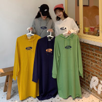 Dress Autumn 2020 Yellow, dark blue, white, gray, green M L longuette singleton  Long sleeves commute Hood Loose waist letter Socket One pace skirt routine Others 18-24 years old Type H Mi Ling Korean version Pocket print First love - 364# 51% (inclusive) - 70% (inclusive) other polyester fiber