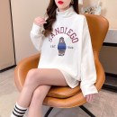 T-shirt White black M L XL Spring 2021 Long sleeves High collar easy Medium length routine commute other 96% and above 25-29 years old Korean version originality Cartoon letters Qiao Mengtong printing Other 100% Pure e-commerce (online only)