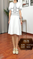 Dress Spring 2021 White, black Average size Short sleeve commute Crew neck Solid color routine 18-24 years old 31% (inclusive) - 50% (inclusive) other