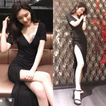 Dress Spring 2020 black S,M,L,XL longuette singleton  Short sleeve commute V-neck High waist Socket One pace skirt routine Others 18-24 years old Korean version