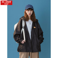 Women's large Summer 2021 White black M (90-120 kg) l (125-145 kg) XL (150-170 kg) 2XL (170-200 kg) Jacket / jacket singleton  street easy thin Cardigan Long sleeves Solid color Hood routine polyester Three dimensional cutting routine wrzb 18-24 years old 96% and above Polyester 100% neutral zipper