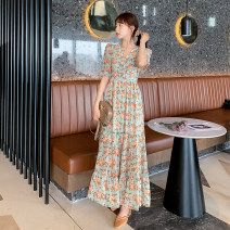Dress Summer 2021 Picture color S M L XL 2XL longuette singleton  Short sleeve commute V-neck Elastic waist Decor Socket Ruffle Skirt Petal sleeve Others 25-29 years old Type X Dream like spirit Korean version Button More than 95% Chiffon other Other 100% Pure e-commerce (online only)