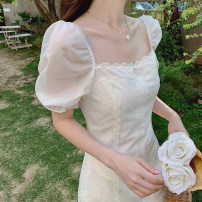 Women's large Summer 2021 white S M L XL singleton  Sweet Self cultivation Socket Short sleeve Solid color square neck have cash less than that is registered in the accounts puff sleeve Gutishan Gauze Short skirt Other 100% Pure e-commerce (online only) Princess Dress solar system