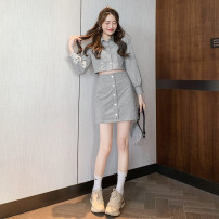 Women's large Autumn 2020 grey S M L XL Dress Two piece set Long sleeves Solid color C075 Xian Jiefu Short skirt Triacetate fiber (triacetate fiber) 100% Pure e-commerce (online only)