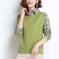 Women's large Autumn 2020 Apricot green red yellow black M L XL XXL XXXL 4XL 5XL Knitwear / cardigan Fake two pieces commute easy moderate Socket Long sleeves Korean version Polo collar routine Three dimensional cutting shirt sleeve XN BK226-AW Xiuna 96% and above Other 100%