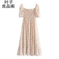 Dress Summer 2021 Beige L,M,S longuette singleton  Short sleeve street square neck Elastic waist other Socket Big swing puff sleeve Others 30-34 years old Other / other Stitching, open back, printing, printing / dyeing, split 30% and below other other