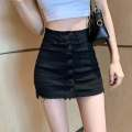 skirt Summer 2020 S,M,L Black, white Short skirt Versatile High waist A-line skirt Solid color Type A 18-24 years old 51% (inclusive) - 70% (inclusive) Denim Other / other polyester fiber tassels 401g / m ^ 2 (inclusive) - 500g / m ^ 2 (inclusive)