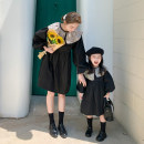 Parent child fashion black Women's dress female Other / other 80cm, 90cm, 100cm, 110cm, 120cm, 130cm, 140cm, 150cm, mom's average size m in stock (within 130kg) spring and autumn college Thin money skirt cotton