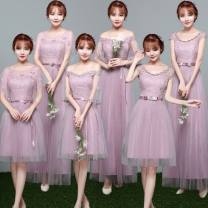 Dress / evening wear Wedding, adulthood, party, company annual meeting, performance, routine, appointment One size, big size Korean version longuette middle-waisted Fall 2017 other One shoulder zipper Netting 18-25 years old Short sleeve flower Solid color Other / other other other