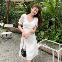 Women's large Spring 2021 white S M L XL Dress singleton  commute Socket Short sleeve Solid color Korean version other puff sleeve Esname / yushman 18-24 years old Medium length Other 100% Pure e-commerce (online only)