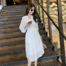 Women's large Spring 2021 White (sling) S M L XL Dress Two piece set commute Short sleeve Solid color Korean version V-neck other routine H2123 Esname / yushman 18-24 years old Medium length Other 100% Pure e-commerce (online only)