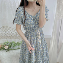 Women's large Summer 2021 Blue red S M L XL Dress singleton  commute Socket Short sleeve Broken flowers Korean version One word collar routine H2502 Esname / yushman 18-24 years old longuette Other 100% Pure e-commerce (online only)