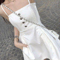 Dress Autumn 2020 Black and white S M L Middle-skirt singleton  Sleeveless commute One word collar High waist Solid color Socket A-line skirt other camisole 18-24 years old Type A Korean version Pocket button zipper 30% and below polyester fiber Pure e-commerce (online only)