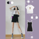 Dress Summer 2021 S M L XL Short skirt Two piece set Short sleeve commute One word collar High waist Solid color Socket A-line skirt routine camisole 18-24 years old Phoenie Korean version More than 95% other Other 100%