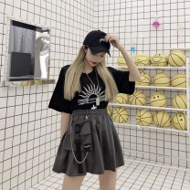 skirt Summer 2020 M, L Gray, black Short skirt Pleated skirt other Ky6CE3hx Other / other pocket