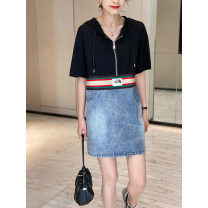 Dress Summer 2021 Black and white S M L XL Mid length dress singleton  Short sleeve commute Crew neck Loose waist other Socket A-line skirt puff sleeve Others 30-34 years old Type H Chongyan Korean version Stitching buttons FI212x81739p0130 More than 95% other Other 100%