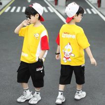 suit The mark of Ningmeng White blue yellow 110cm 120cm 130cm 140cm 150cm 160cm male summer Korean version Short sleeve + pants 2 pieces routine There are models in the real shooting Socket nothing Cartoon animation other children Learning reward NMYJ - TZ6620 Class B Other 100% Summer 2021