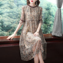 Dress Summer 2021 Decor S,M,L,XL,2XL,3XL Mid length dress singleton  three quarter sleeve commute stand collar Loose waist Decor Socket A-line skirt routine Others 30-34 years old Type A Ol style More than 95% Chiffon other