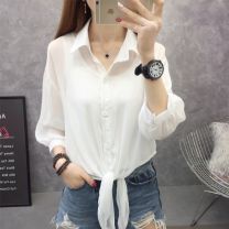 Lace / Chiffon Summer of 2019 Black, white, light green, [trumpet sleeve black], [trumpet sleeve white], pink purple S,M,L,XL Long sleeves commute Cardigan singleton  easy have cash less than that is registered in the accounts square neck Solid color routine 25-29 years old Other / other C73100