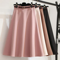 skirt Autumn of 2019 S M L XL this is not a pleated skirt Black Pink apricot Khaki Mid length dress Versatile High waist Umbrella skirt Solid color Type A IMsQTF More than 95% Tongyoubei polyester fiber Polyester 100%