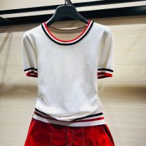 Wool knitwear Summer 2021 2/S 3/M 4/L 5/XL Yellow black white Short sleeve singleton  Socket nylon 30% and below Regular routine commute Self cultivation Low crew neck routine Color matching Socket 5710133-2T92535-001 30-34 years old Cool girl Splicing Pure e-commerce (online only)