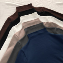 T-shirt XL M L XXL Spring 2020 Long sleeves Half high collar Self cultivation Regular routine commute polyester fiber 86% (inclusive) -95% (inclusive) 18-24 years old Korean version classic Solid color Luminous shadows / fine wind Polyester 95% polyurethane elastic fiber (spandex) 5%