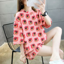 Women's large Summer 2020 L XL XXL M T-shirt singleton  commute easy Socket Short sleeve Korean version Crew neck Medium length polyester printing and dyeing routine Luminous shadows / fine wind 18-24 years old 96% and above Polyester 95% polyurethane elastic fiber (spandex) 5%
