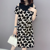 Dress Summer 2021 Graph color S M L XL Mid length dress Fake two pieces Short sleeve street Crew neck High waist Decor A-line skirt other Others 30-34 years old Miheng More than 95% other Other 100% Pure e-commerce (online only) Europe and America