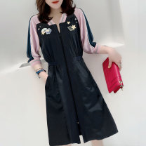 Dress Summer 2021 black S M L XL Middle-skirt singleton  three quarter sleeve street Crew neck High waist routine Others 30-34 years old Miheng More than 95% other Other 100% Pure e-commerce (online only) Europe and America