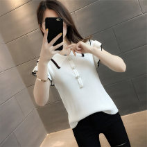 Wool knitwear Summer 2021 S M L XL Black and white Short sleeve singleton  Socket other More than 95% Regular routine commute Self cultivation Polo collar Flying sleeve Solid color Socket Korean version FX13603HT19783755948 Phoenix flute (costume) Other 100%